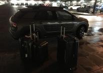 Car, rain, luggage