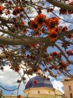Blue cupola with orange flowers